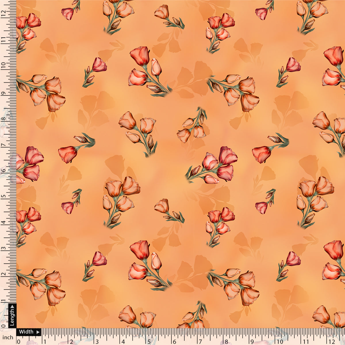 Lovely Decorative Roses Digital Printed Fabric
