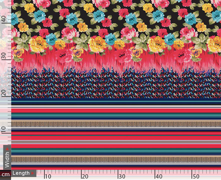 Stripes With Flower Digital Printed Fabric