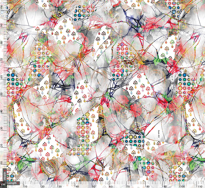 Abstract Treads And Prints Digital Printed Fabric