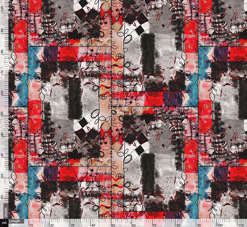 Red And Grey Square Block Repeat Digital Printed Fabric