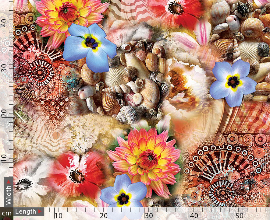 Shells And Flowers Digital Printed Fabric