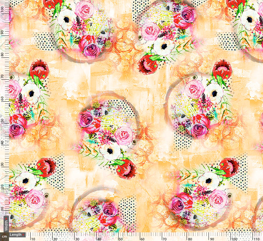 Flower Bunch With Light Yellow Background Digtal Printed Fabric