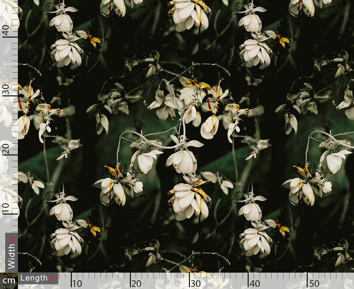 White Flower Branch Digtal Printed Fabric
