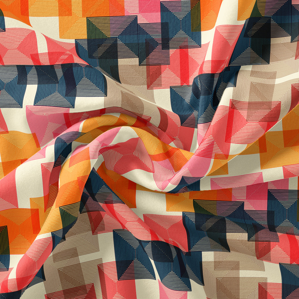 Abstract Squares Digital Printed Fabric