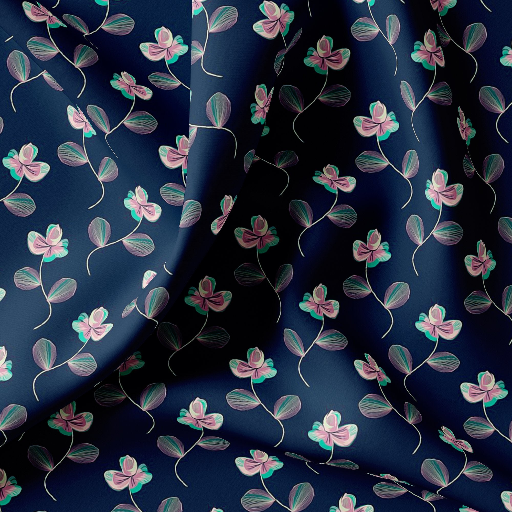 Flowers Floating over Blue Base Digital Printed Fabric - Wholesale FAB VOGUE