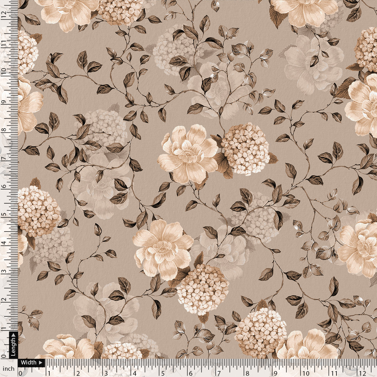 Grayish Orange Roses With Brown Valley Digital Printed Fabric