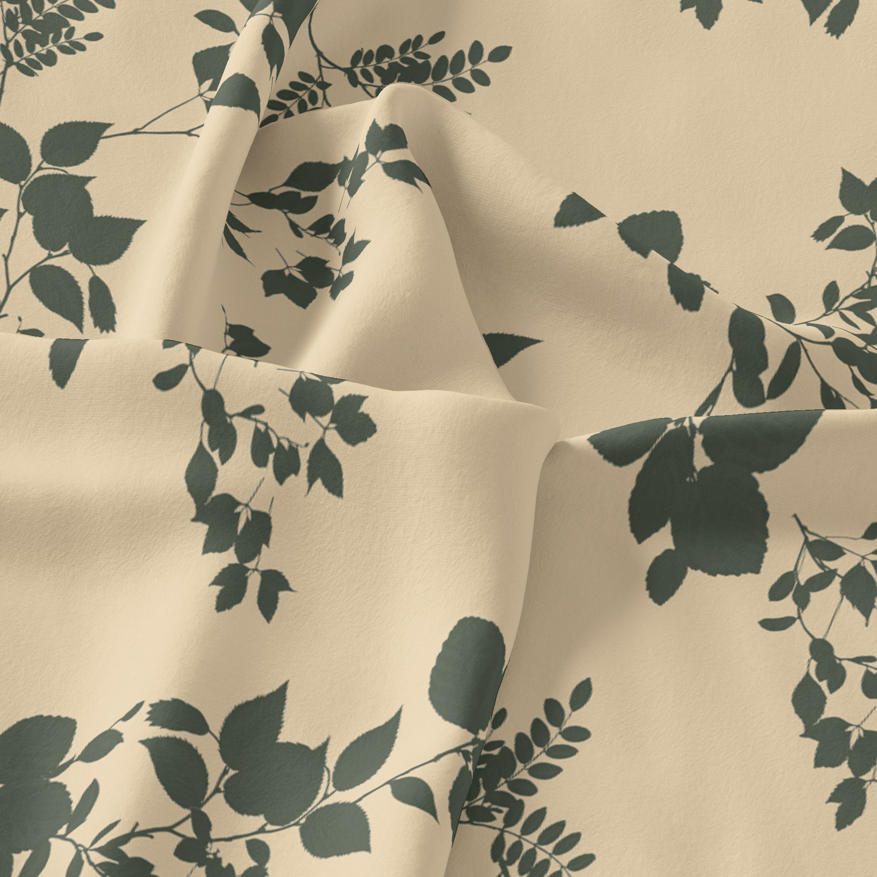 Olive Stalk And Leaves Digital Printed Fabric