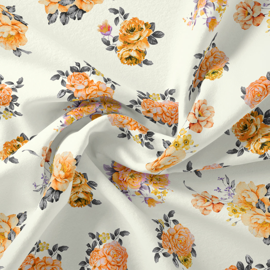 Yellow Lonicera Grey Leafs Digital Printed Fabric