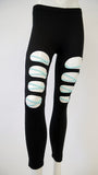Black Leggings with Blue Cross Stitch