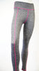 Grey Sport Leggings with Rose Red Stripe and Great Elasticity