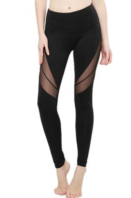 Black Leggings with High Thigh Mesh