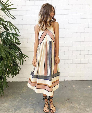 Roaming Hearts Striped Sleeveless Dress