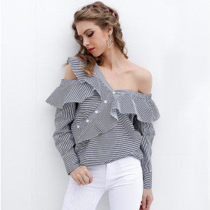 Single Shoulder Ruffle Blouse