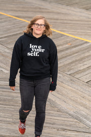 love your self fleece hoodie - black