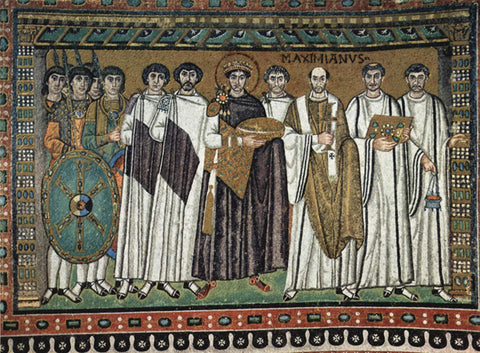 Court of Emperor Justinian with (right) archbishop Maximian and (left) court officials and Praetorian Guards; Basilica of San Vitale in Ravenna, Italy. c. 547 A.D.