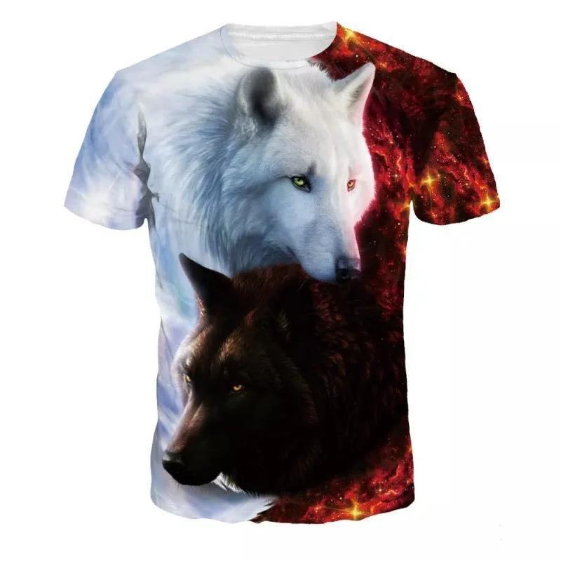 Cool Style Fashion t-shirt Men's  Fashion Casual Short Sleeve Round Neck Wolf Printed T shirts