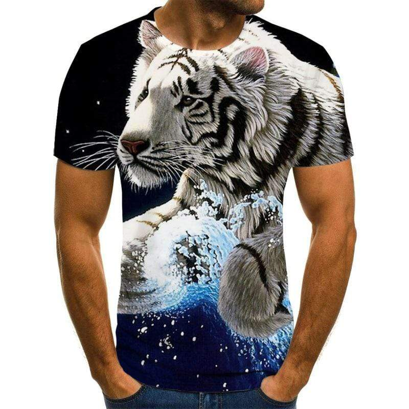 Cool Style Fashion t-shirt new casual O-neck hip hop short sleeve 3D Tiger printed T-shirt