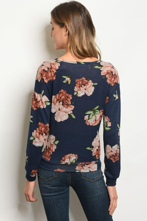Shop the Trends Women's Fashion - Women's Clothing - Blouses & Shirts Womens Navy Floral Top