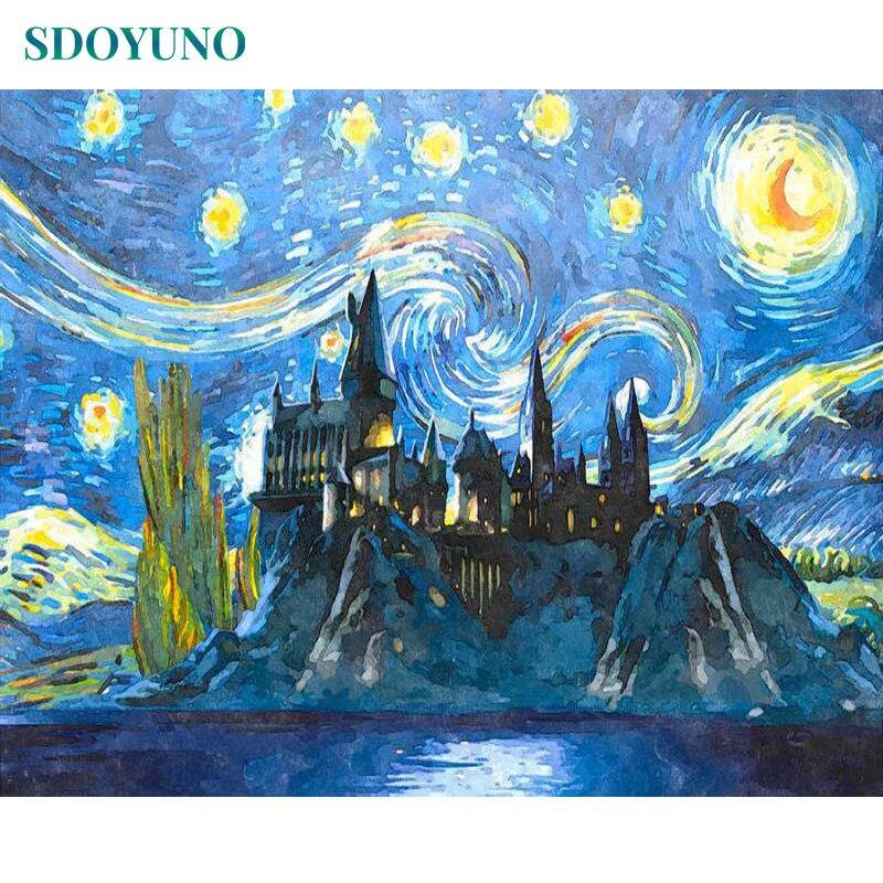 Soft Porium 1490 / 50x65cm no frame under the starry sky DIY Frame Paint By Numbers For Adults