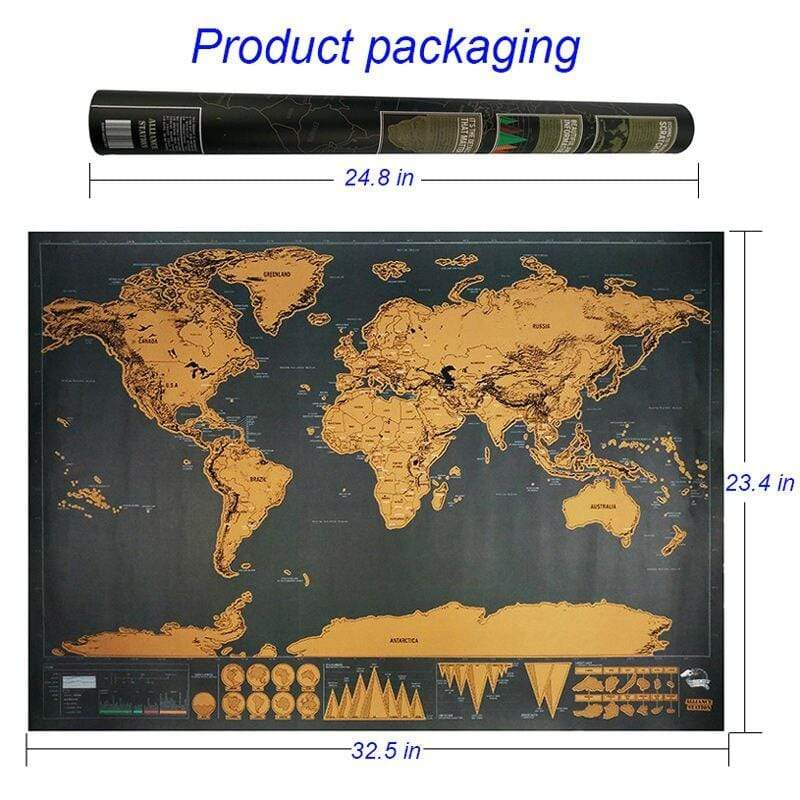 Soft Porium Deluxe World Map 423x300mm / Small Deluxe Black Decoration World Map
