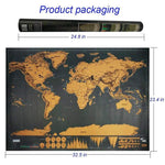 Soft Porium Deluxe World Map 825x595mm / Big Deluxe Black Decoration World Map
