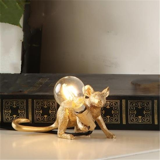 Soft Porium Gold / Carrying Light Mouse Resin Table Lamps