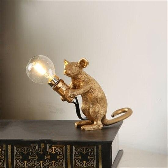 Soft Porium Gold / Holding Light Mouse Resin Table Lamps
