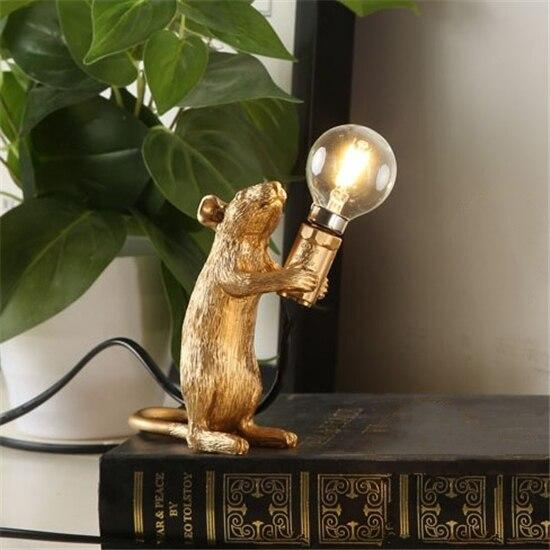 Soft Porium Gold / Raising Light Mouse Resin Table Lamps