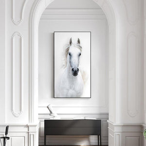 Soft Porium Nordic Style White Horse Canvas White Poster Print Modern Wall Art Pictures