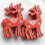 Soft Porium Red / Deer New Year and Christmas Wood Ornaments