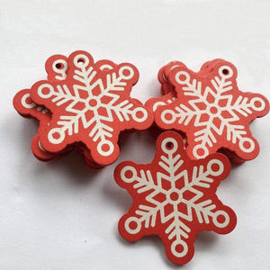 Soft Porium Red / Frost New Year and Christmas Wood Ornaments