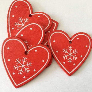 Soft Porium Red / Heart New Year and Christmas Wood Ornaments