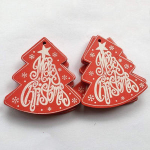 Soft Porium Red / Merry Xmas New Year and Christmas Wood Ornaments