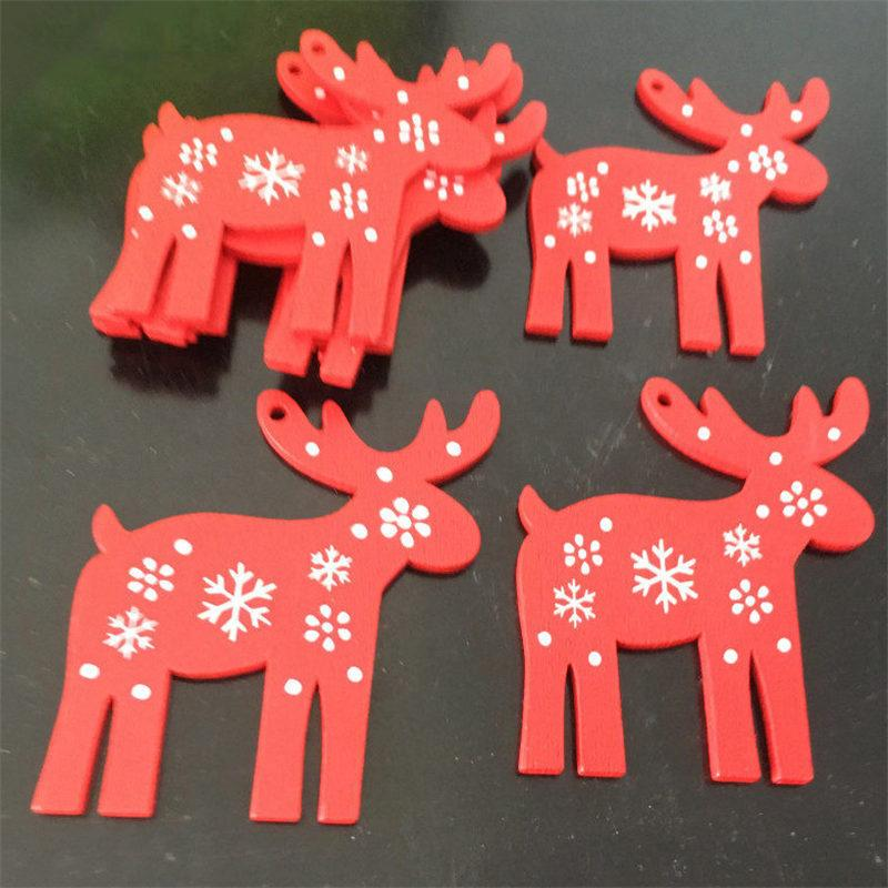 Soft Porium Red / Rudolph New Year and Christmas Wood Ornaments
