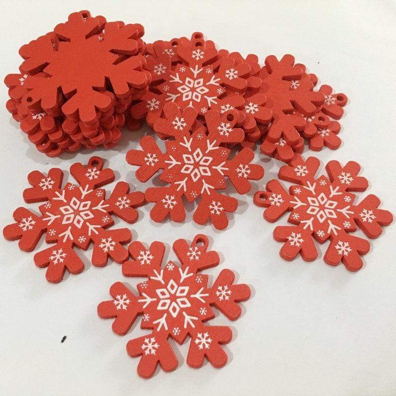 Soft Porium Red / Snow Flakes New Year and Christmas Wood Ornaments