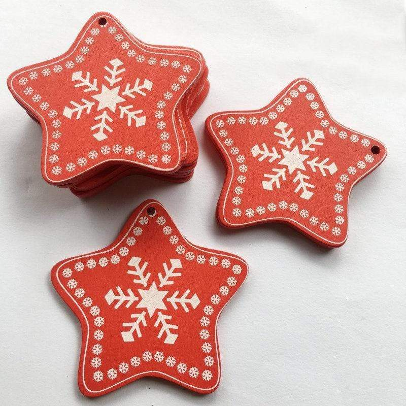 Soft Porium Red / Star Frost New Year and Christmas Wood Ornaments