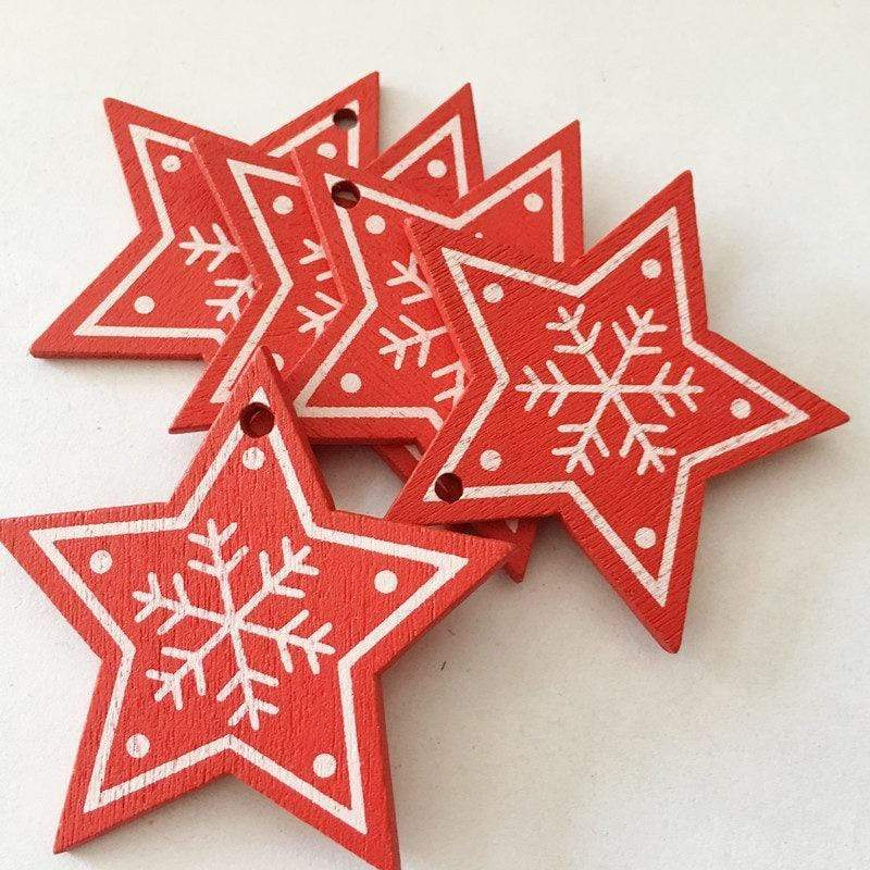 Soft Porium Red / Star New Year and Christmas Wood Ornaments
