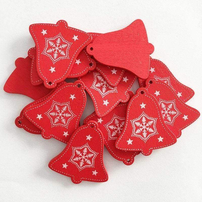 Soft Porium Red / Xmas Bell New Year and Christmas Wood Ornaments