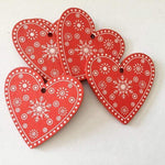 Soft Porium Red / Xmas Heart New Year and Christmas Wood Ornaments