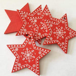 Soft Porium Red / Xmas Star New Year and Christmas Wood Ornaments