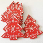 Soft Porium Red / Xmas Tree New Year and Christmas Wood Ornaments