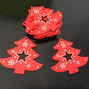 Soft Porium Red / Xmas Tree Star New Year and Christmas Wood Ornaments