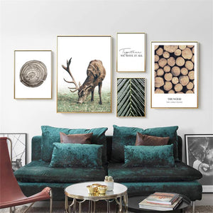 Soft Porium Scandinavian Poster Nordic Style Deer Wood Wall Art Canvas