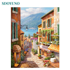 Soft Porium SDOYUNO DIY 60x75cm Frame Digital Painting Landscape on canvas acrylic Painting By Numbers