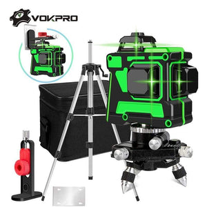 Soft Porium Self-Leveling 360 Degrees Horizontal And Vertical Cross Lines Green Laser Line With Tripod Battery