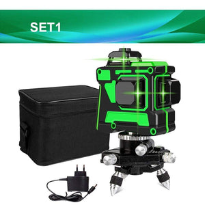 Soft Porium SET1 V12L1 Self-Leveling 360 Degrees Horizontal And Vertical Cross Lines Green Laser Line With Tripod Battery