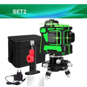 Soft Porium SET2 V12L1 Self-Leveling 360 Degrees Horizontal And Vertical Cross Lines Green Laser Line With Tripod Battery