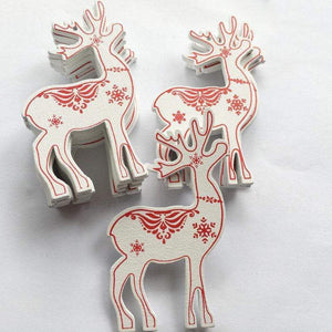 Soft Porium White / Deer New Year and Christmas Wood Ornaments