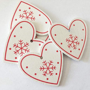 Soft Porium White / Heart New Year and Christmas Wood Ornaments