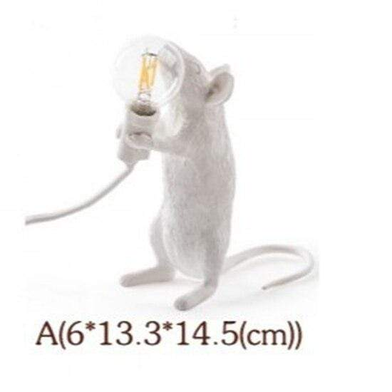 Soft Porium White / Raising Light Mouse Resin Table Lamps